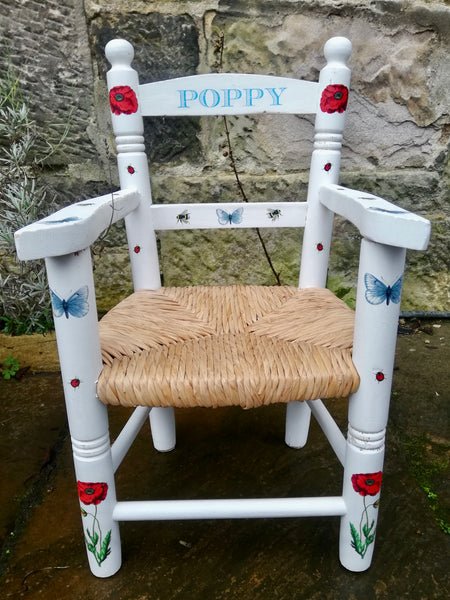 Shabby Chic Upcycled rush seat personalised children's chair - Poppy Field Theme - made to order