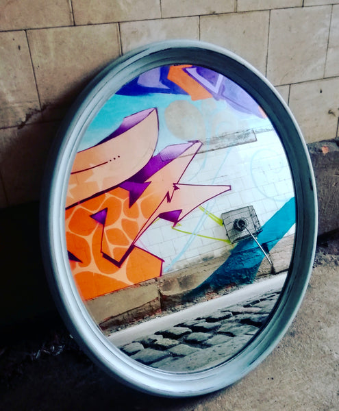 Vintage oval mirror painted in Annie Sloan Svenska Blue
