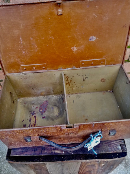 Vintage rustic rusty industrial storage box