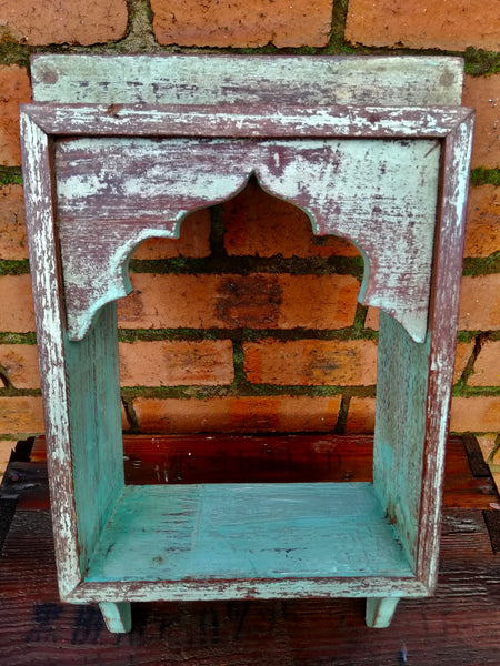Stunning antique Indian single wall shelf with original paintwork and lovely patina