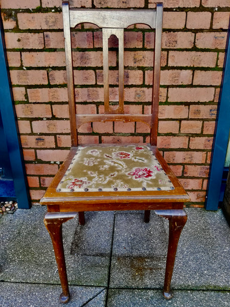 Antique vintage bedroom chair available for reupholstery and painting your choice of colour. Price includes upholstery and painting