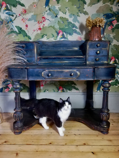 Vintage writing desk painted in layers of beautiful Patina