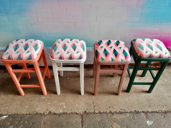 4 vintage stools all painted and reupholstered in beautiful geometric velvet