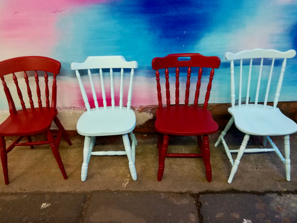 Commission for Rebecca 4 painted mismatched dining chairs