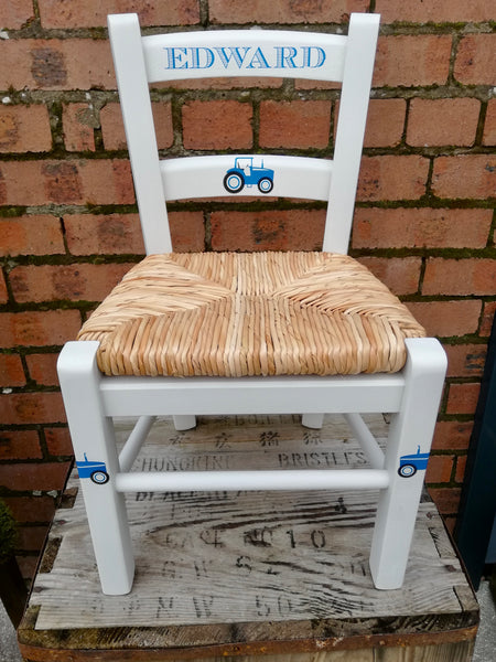 Shabby Chic Upcycled rush seat personalised children's chair - Tractor theme - made to order