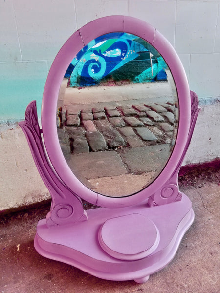 Pink Painted dressing table mirror
