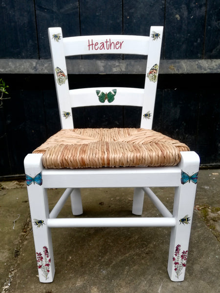Shabby Chic Upcycled rush seat personalised children's chair - Heather and butterflies theme - made to order