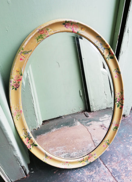 Large Vintage oval wall mirror painted in Layers of Miss Mustard Seed Milk Paint