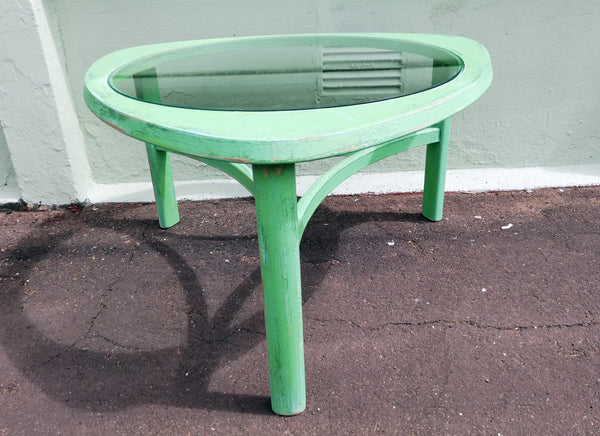 Mid Century Glass Coffee table painted and distressed in layers of green