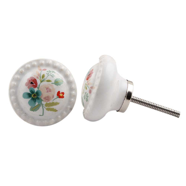 Multicolor White Flower furniture Knob
