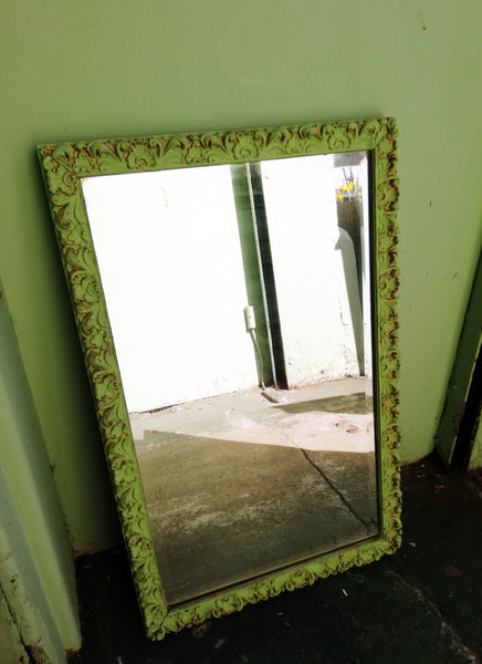 Ornate gold mirror painted in a Pistachio  Green antique finish