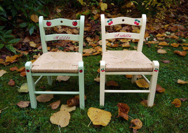 Custom Listing for Emily personalised children's rush seat chairs x 3