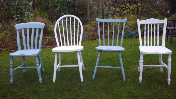 Custom Listing for Sophie set of 5 mismatched vintage  dining chairs in Fusion Mineral Paint