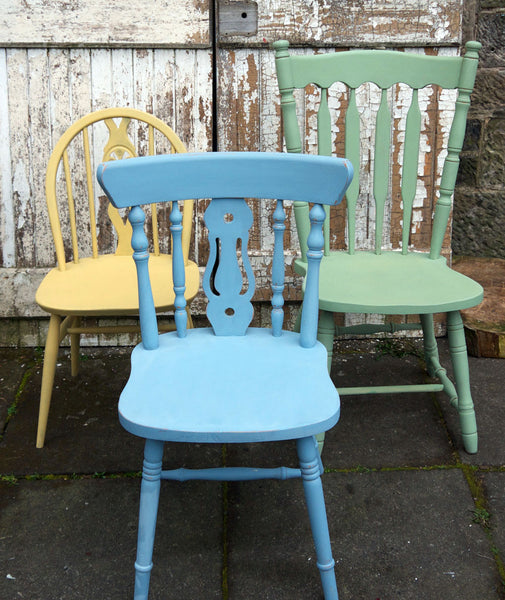 Custom listing for Alena 3 hand painted mismatched vintage dining chairs