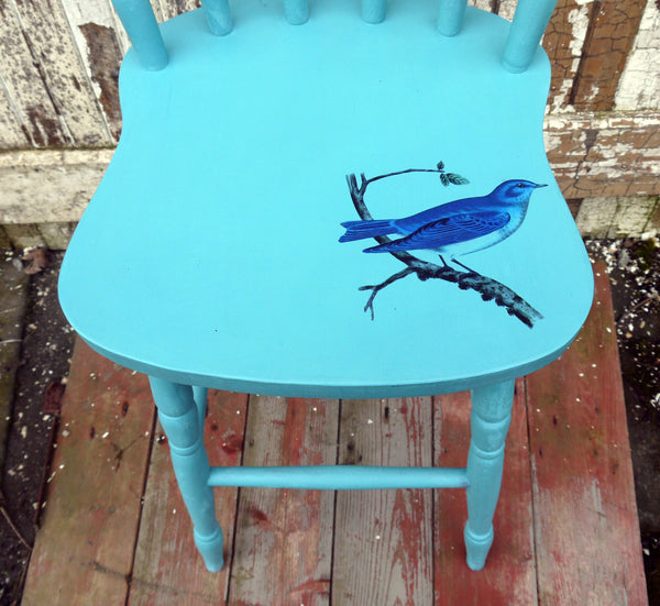 PAINTED VINTAGE PINE BAR STOOL WOTH BLUE BIRD DESIGN