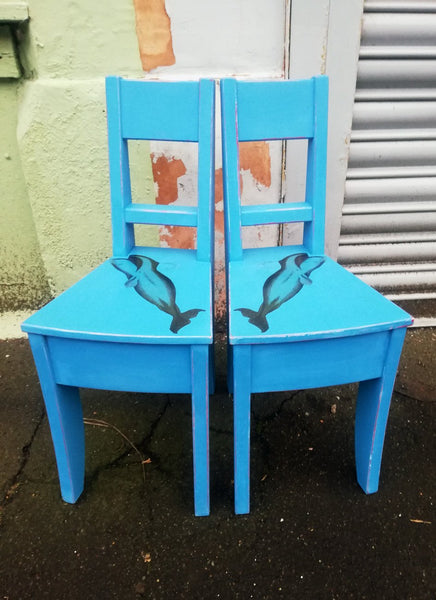 Pair of super cute painted children's chairs with Whale design