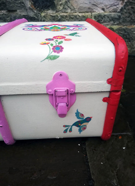 Personalised vintage children's folk art steamer trunk
