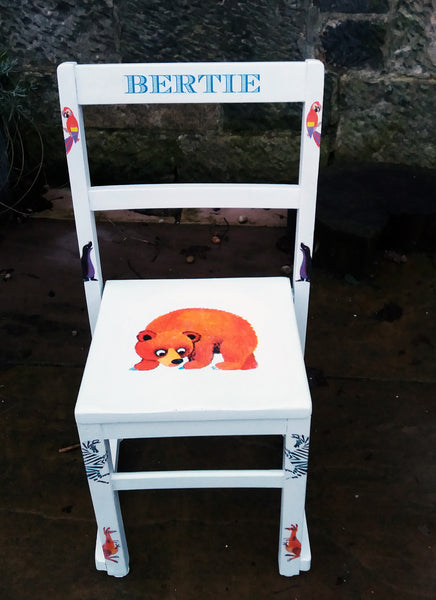 Personalised vintage school chair with vintage zoo theme