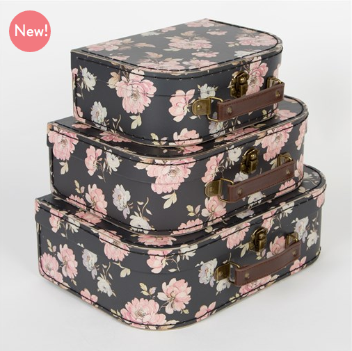 New....Set of 3 French Rose Vintage style girl's mini suitcases