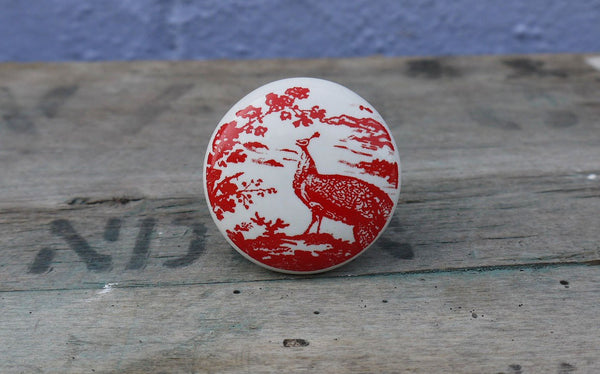 Red and White Ceramic Peacock Knob furniture handle