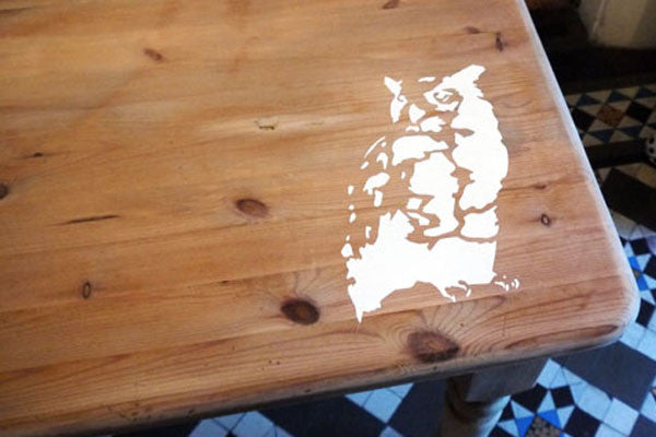 Refurbished upcycled Pine Dining Table with owl stencil