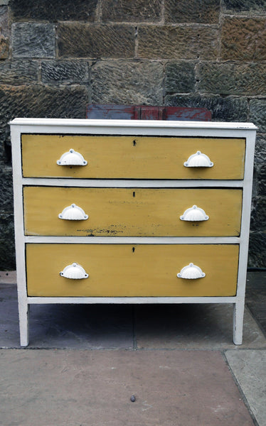 Refurbished vintage chest of drawers in Miss Mustard Seed Milk Paint with white handles