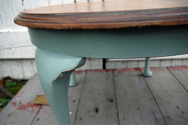 Refurbished vintage coffee table in Annie Sloan Duck Egg Blue