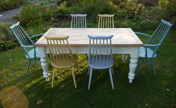 refurbished Farmhouse dining table and 6 Ercol Goldsmith chairs