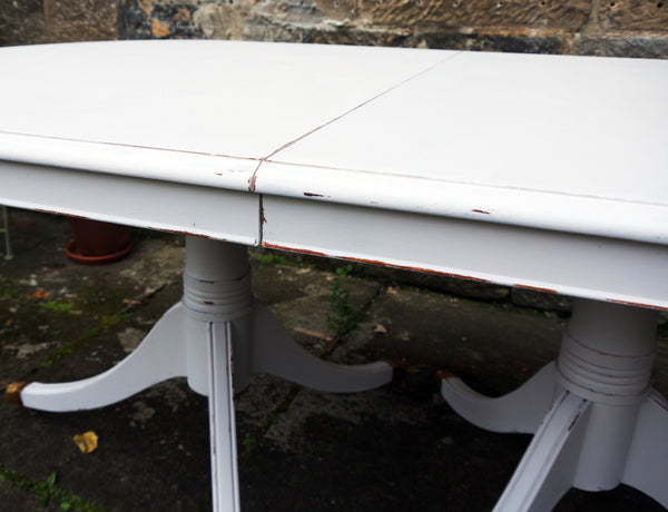 Refurbished vintage dining table  in Fusion Mineral Paint Little Stork
