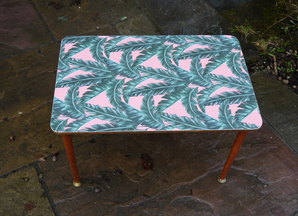 Custom Listing for Frieze mid century side table with tropical paper design
