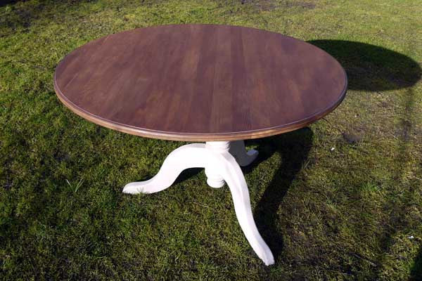 Custom Listing for Jane refurbished round dining table in Annie Sloan Paloma with dark stained top