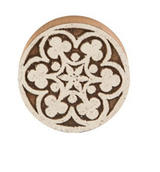 Large White Wood Mediterranean Mosaic drawer knob