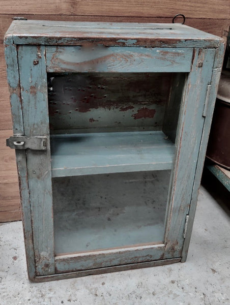 Beautiful antique teak painted glass fronted Indian wall cabinet with original chippy paint