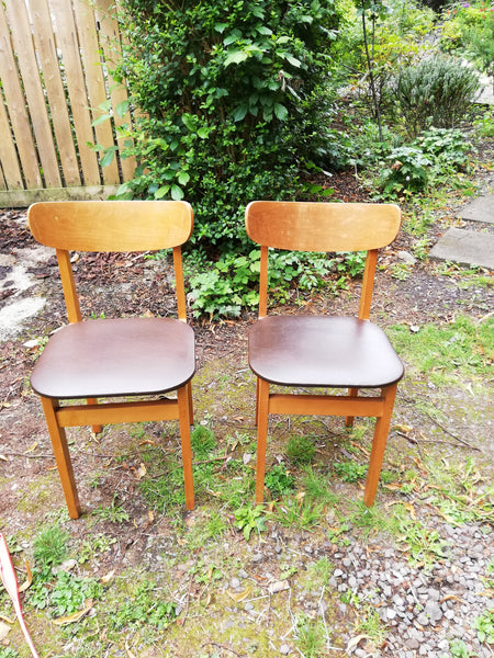 Set of 2 vintage mid century dining chairs with vinyl seats