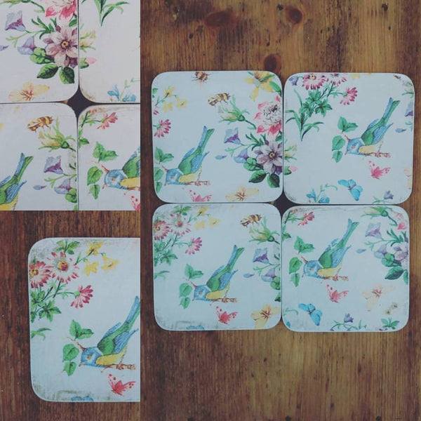 Set of 4 upcycled vintage coasters with cute floral bird design
