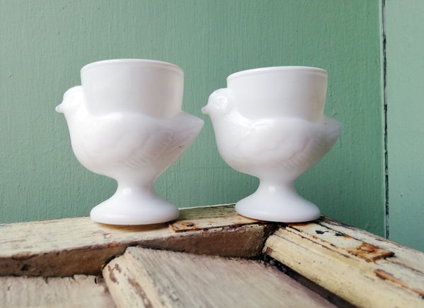 Set of two french vintage milk glass chicken egg cups