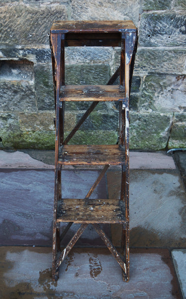 Vintage wooden pine step ladder