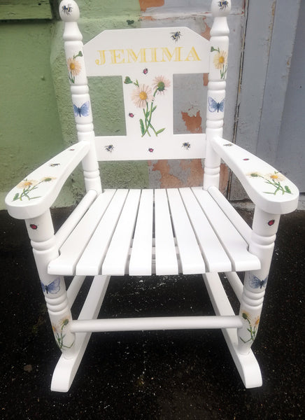 Shabby Chic Upcycled  personalised children's rocking chair - Bees and Butterfly Theme - made to order