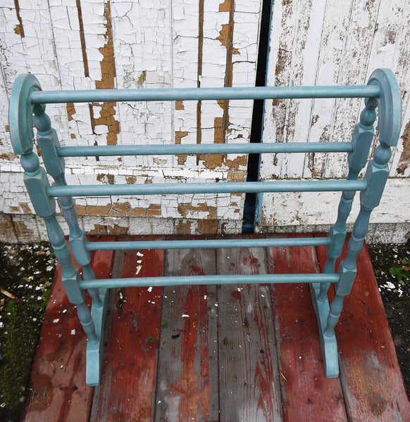 Shabby Chic Vintage towel rail drying rack hand painted in Miss Mustard Seed milk paint