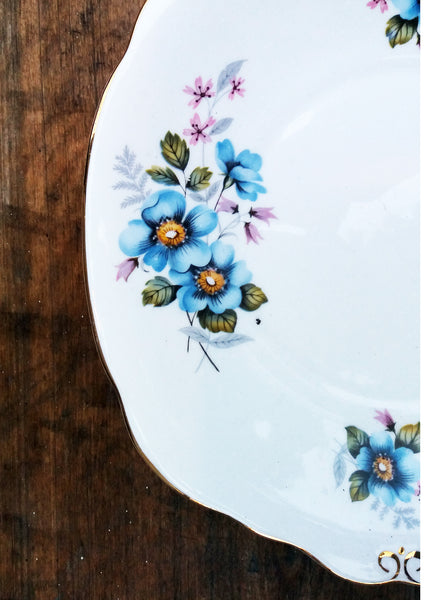 Shabby chic dinner plate with floral blue wild rose design in fine english bone china from Emily Rose Vintage
