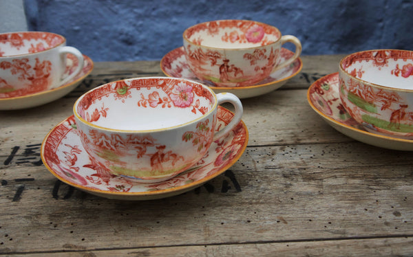 Stunning vintage staffordshire bone china tea set with chinese design 1920's