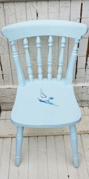 Upcycled baby blue wooden child's nursery chair with vintage dove decoupage design