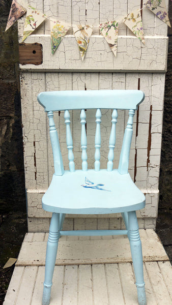 Upcycled Baby Blue Wooden Child S Nursery Chair With