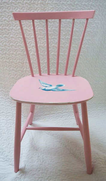 Upcycled baby pink wooden children's heirloom nursery chair with vintage dove design by Emily Rose Vintage