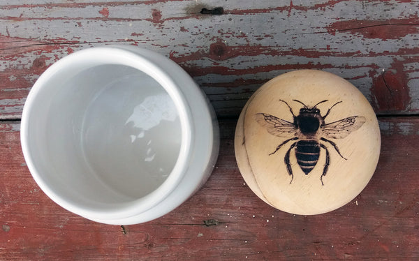Upcycled kitchen storage pot ceramic and wood with bee design