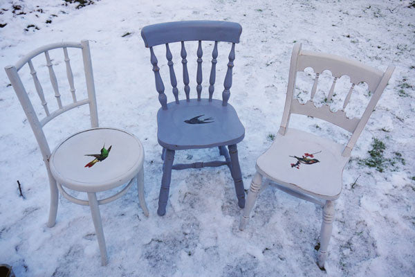 Upcycled mismatched vintage dining chair set decoupaged with your choice of design by Emily Rose Vintage