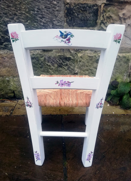 Upcycled rush seat personalised children's chair - Blossom Bird theme - made to order