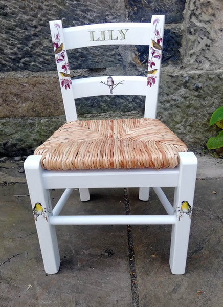 Upcycled rush seat personalised children's chair - birds on branches theme - made to order