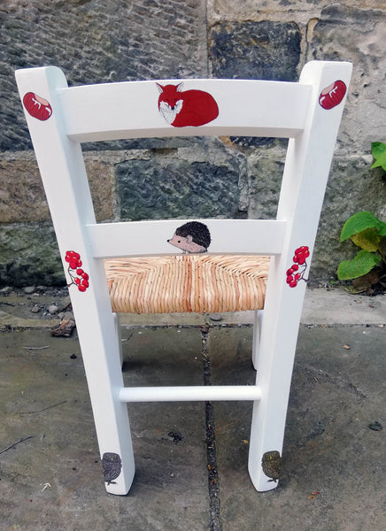 Upcycled rush seat personalised children's chair - british woodland theme - made to order