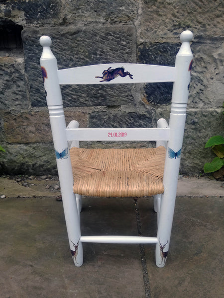 Upcycled rush seat personalised children's chair - vintage woodland theme - made to order